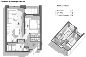 Пример планировочного решения при ремонте квартиры в Харькове под ключ.